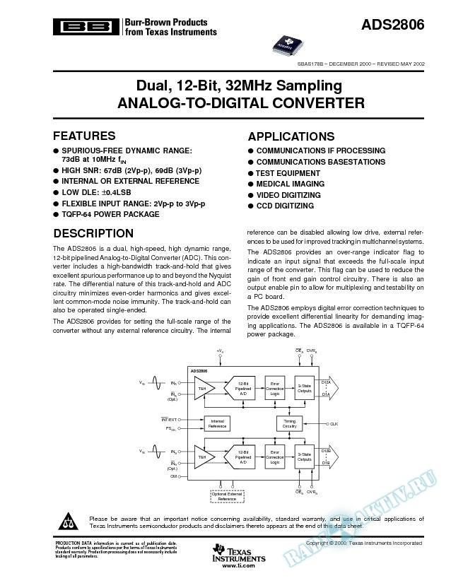 ADS2806: Dual, 12-Bit, 20MHz Sampling Analog-to-Digital Converter (Rev. B)