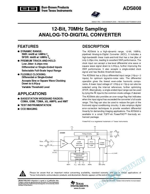 ADS808: 12-Bit, 70MHz Sampling Analog-to-Digital Converter (Rev. C)