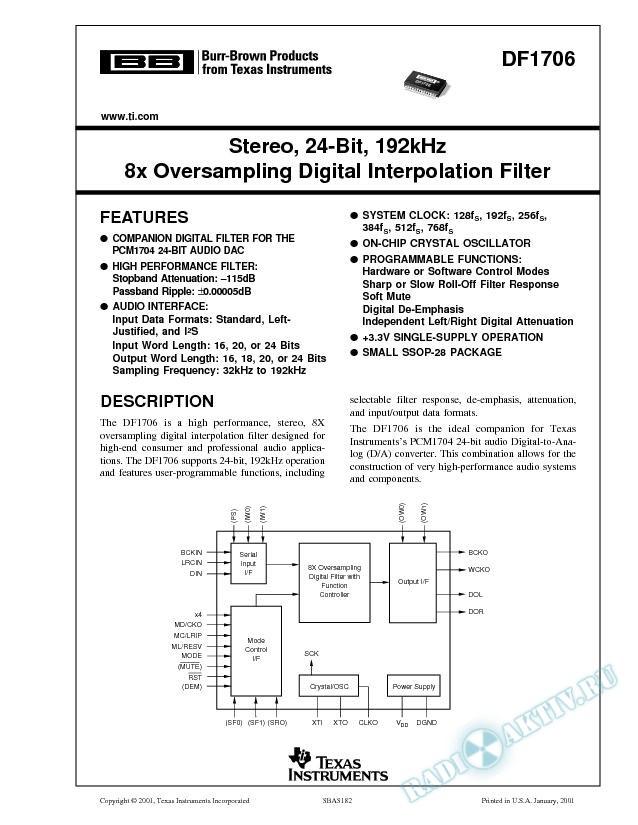 DF1706: Stereo, 24-Bit, 192kHz 8X Oversampling Digital Interpolation Filter