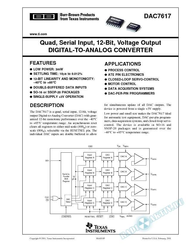 DAC7617: Quad, Serial Input, 12-Bit, Voltage Output Digital-to-Analog Converter