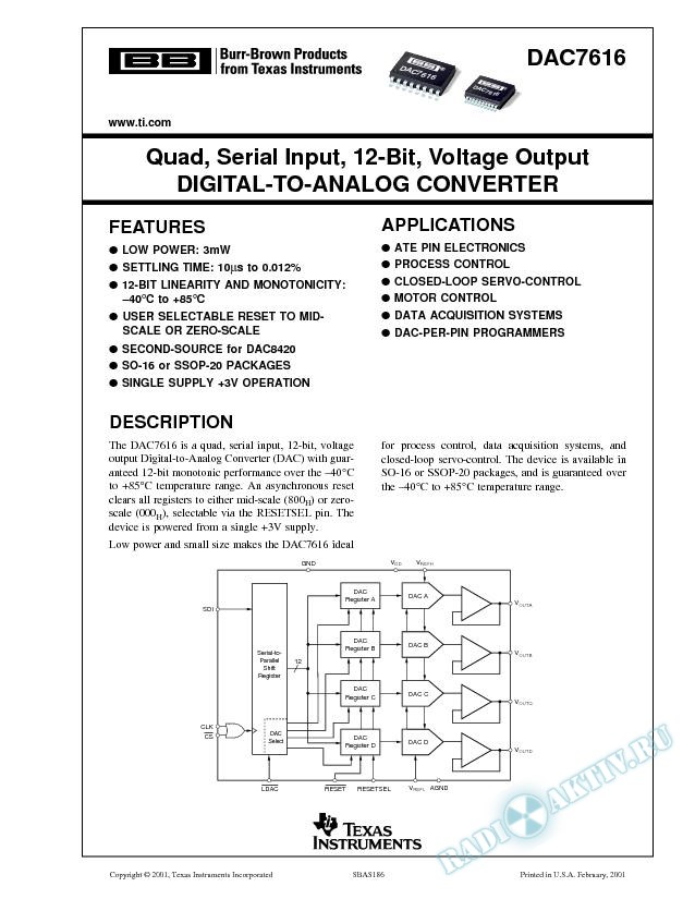 DAC7616: Quad, Serial Input, 12-Bit, Voltage Output Digital-to-Analog Converter