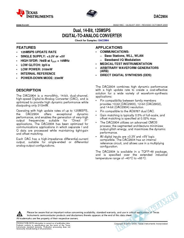 Dual, 14-Bit, 125 MSPS Digital-to-Analog Converter (Rev. C)