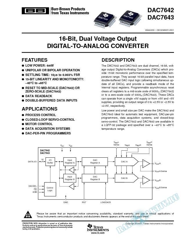 DAC7642, DAC7643: 16-Bit, Dual Voltage Output Digital-To-Analog Converter