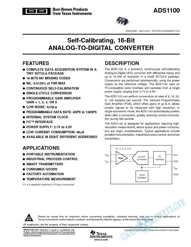 ADS1100: Self-Calibrating, 16-Bit Analog-to-Digital Converter (Rev. B)