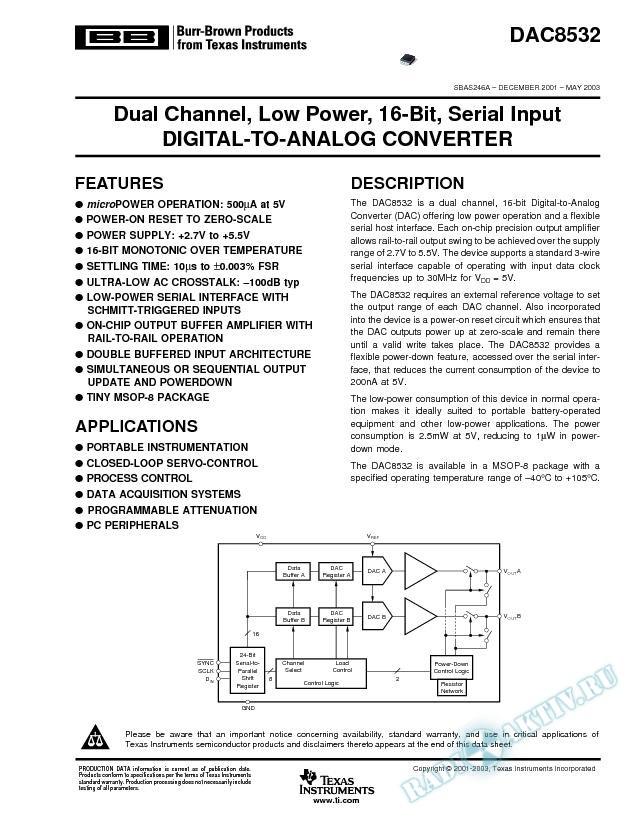 DAC8532: Dual-Channel, Low-Power, 16-Bit, Serial-Input D/A Converter (Rev. A)