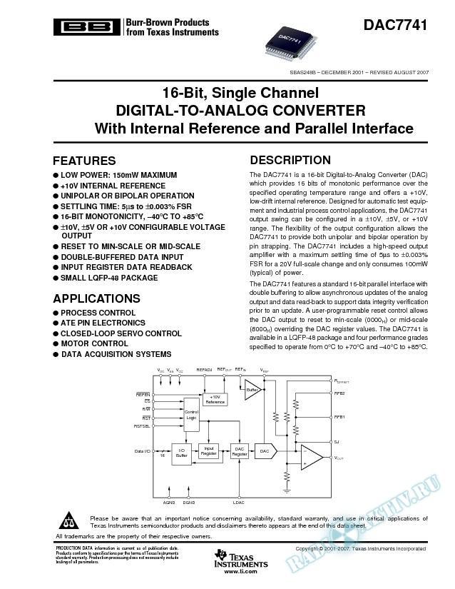 16-Bit, Voltage Output Digital-To-Analog Converter (Rev. B)