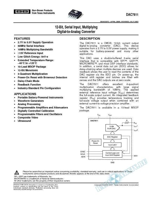 12-Bit, Serial Input, Multiplying Digital-to-Analog Converter (Rev. C)
