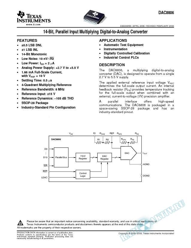 14-Bit, Parallel Input Multiplying Digital-to-Analog Converter (Rev. B)