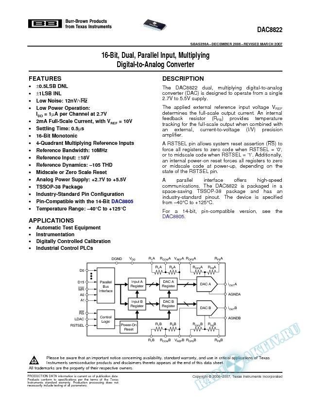 Dual, Parallel Input, 16-Bit, Multiplying Digital-to-Analog Converter (Rev. A)