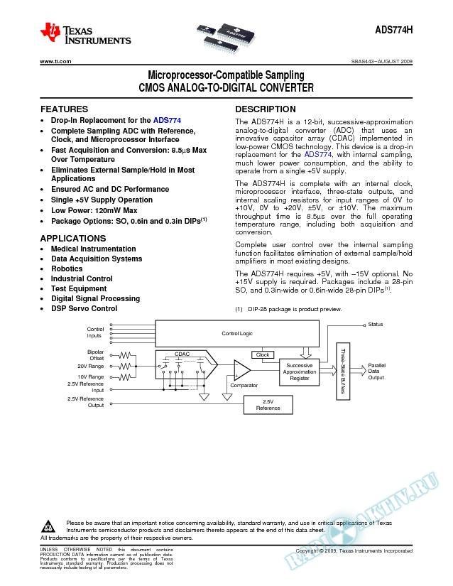 Microprocessor-Compatible Sampling CMS Analog-to-Digital Converter
