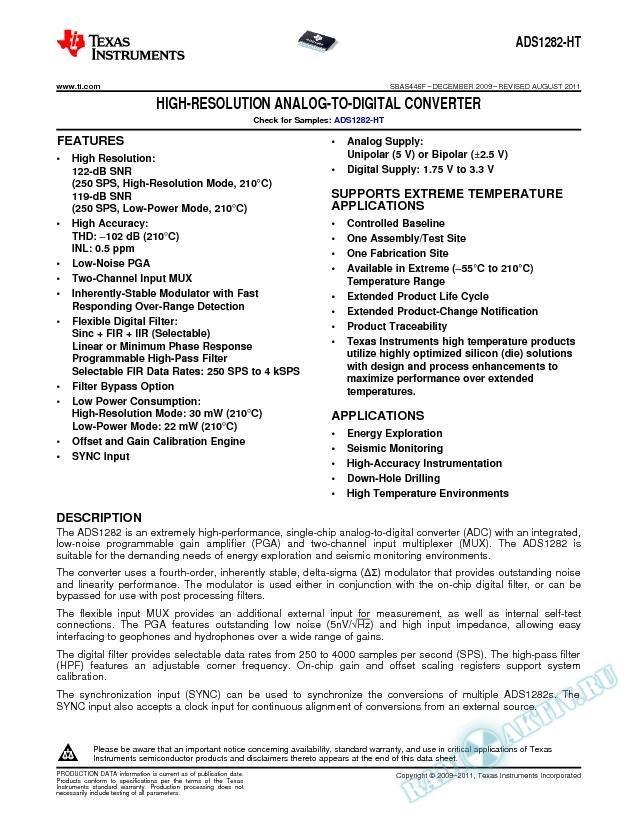 High Resolution Analog-to-Digital Converter (Rev. F)