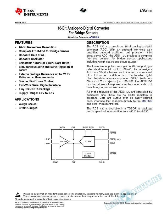 18-Bit Analog-to-Digital Converter for Bridge Sensors (Rev. A)