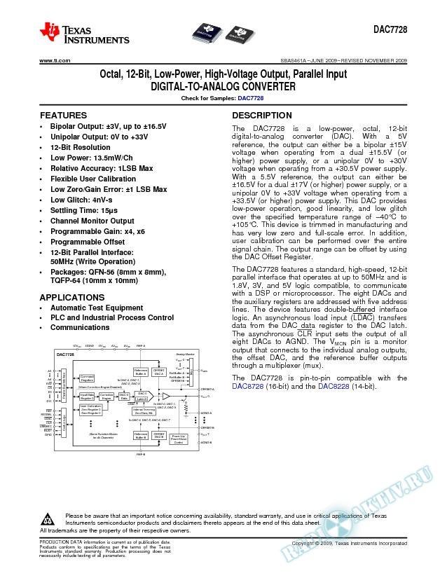 Octal, 12-Bit, Low-Power, High-Voltage Output, Parallel Input D/A Converter (Rev. A)