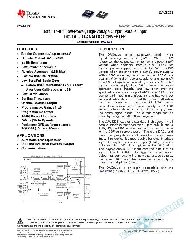 Octal, 14-Bit, Low-Power, High-Voltage Output, Parallel Input D/A Converter (Rev. A)