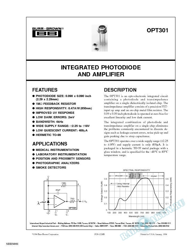 Integrated Photodiode and Amplifier