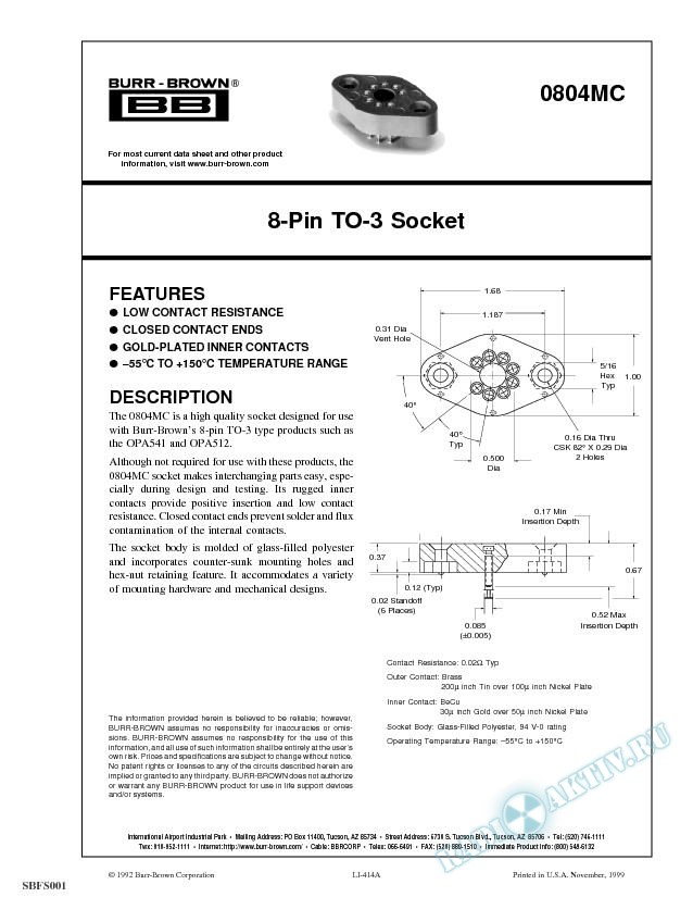 8-Pin TO-3 Socket