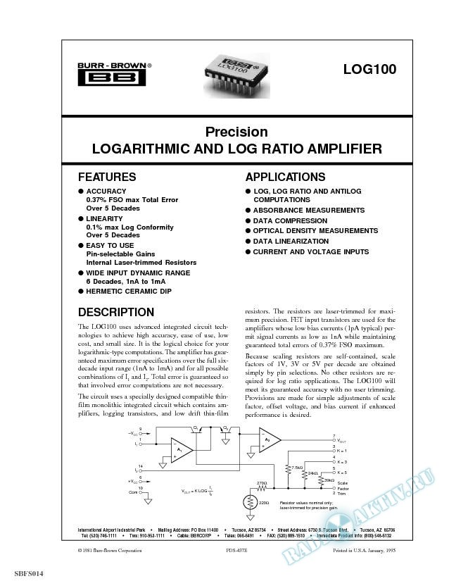 Precision Logarithmic and Log Ratio Amplifier