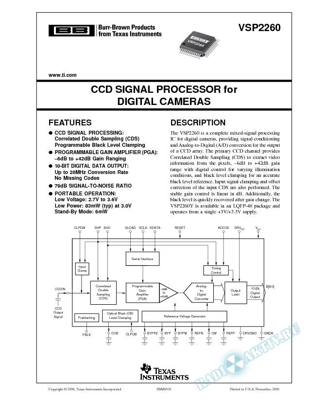 CCD Signal Processor for Digital Cameras