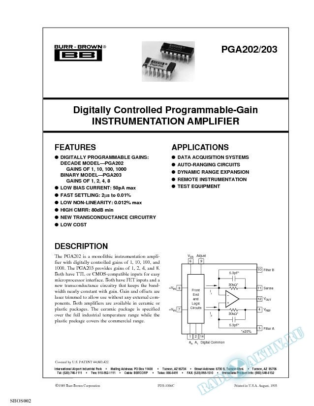 Digitally Controlled Programmable-Gain Instrumentation Amp