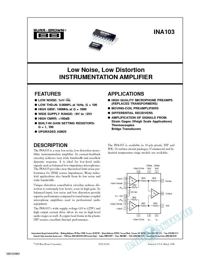 Low Noise, Low Distortion Instrumentation Amplifier