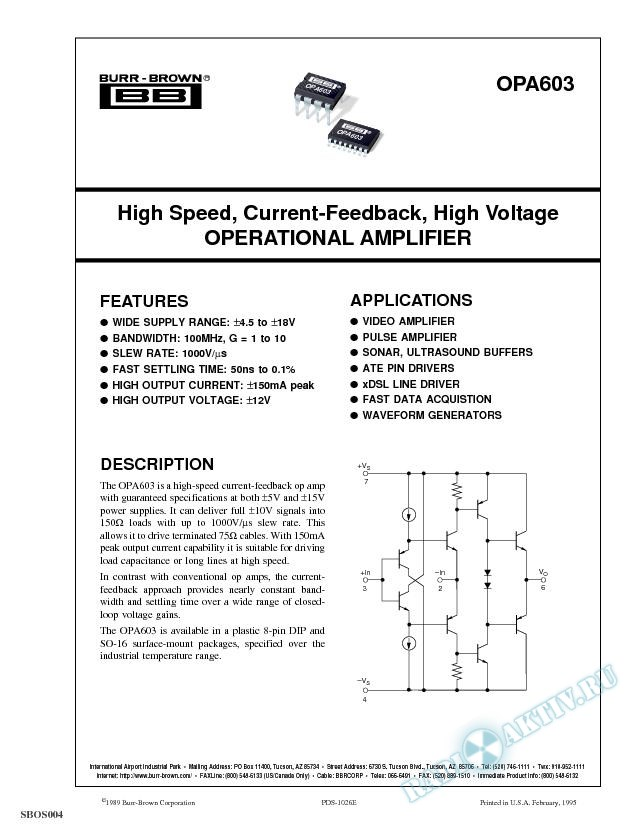 High Speed, Current-Feedback Operational Amplifier