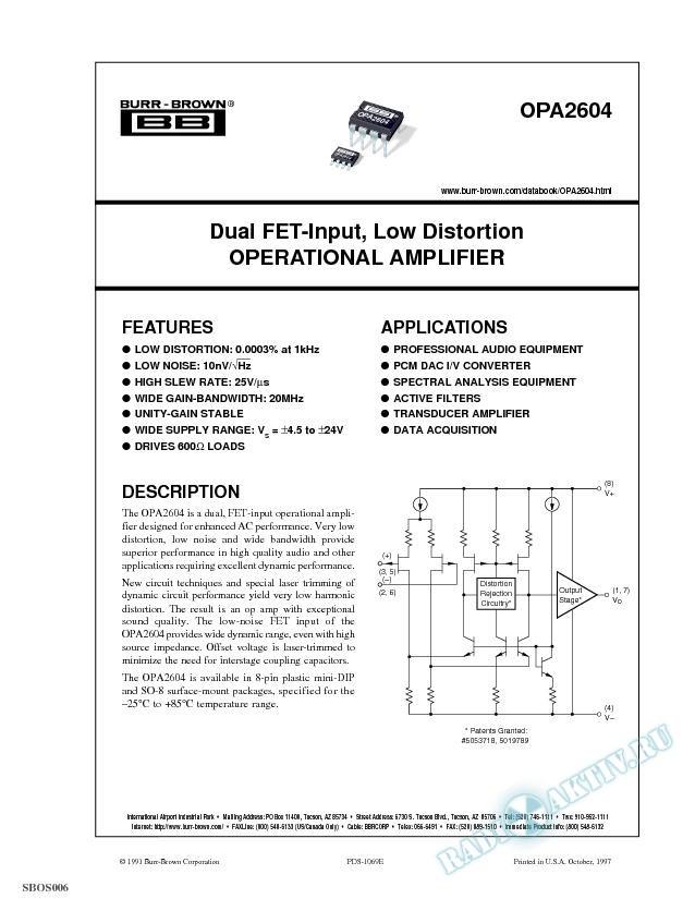 Dual FET-Input, Low Distortion Operational Amplifier