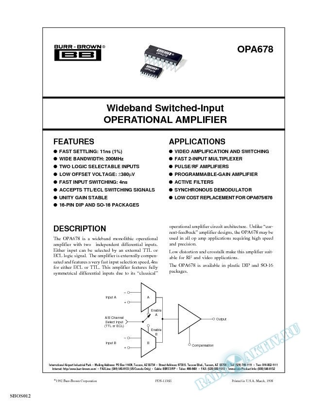 Wideband Switched-Input Operational Amplifier
