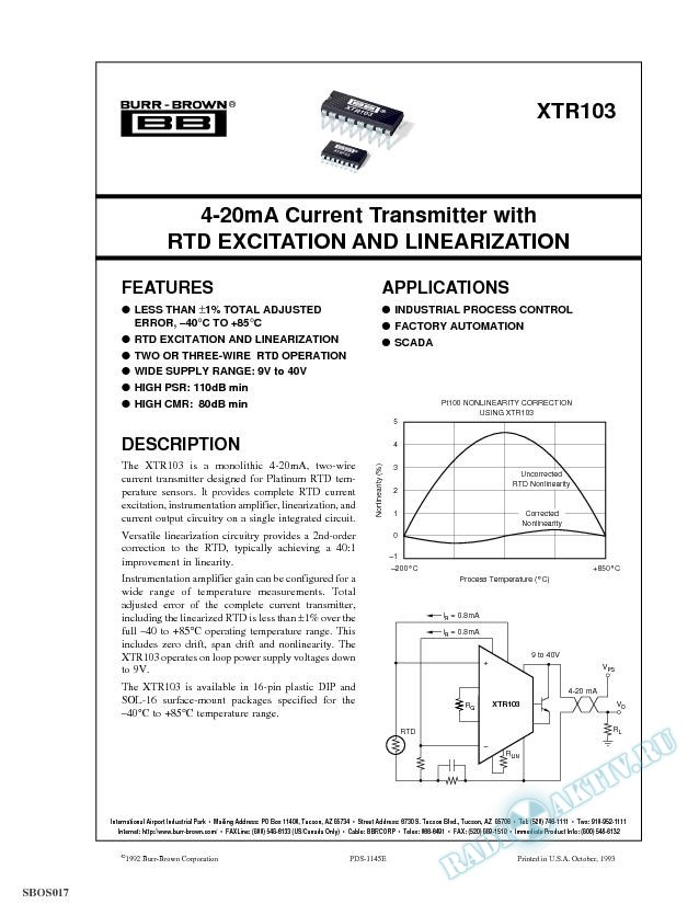 4-20mA Current Transmitter with RTD Excitation And Linearization