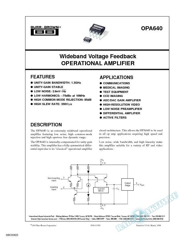 Wideband Voltage Feedback Operational Amplifier