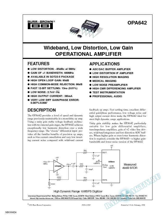 Wideband Low Distortion Operational Amplifier