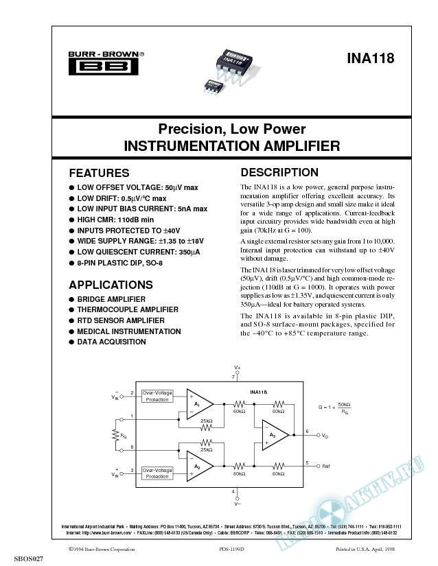 Precision, Low Power Instrumentation Amplifier
