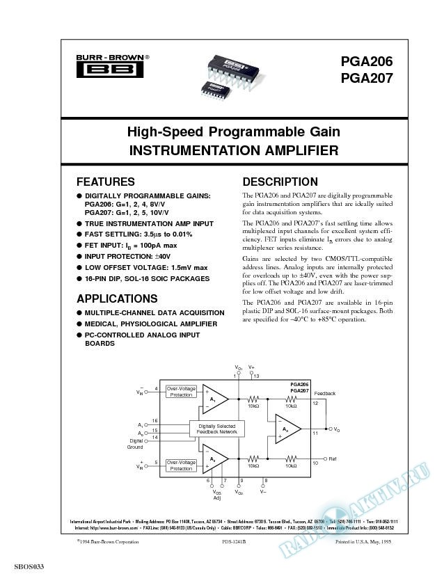 High-Speed Programmable Gain Instrumentation Amplifier