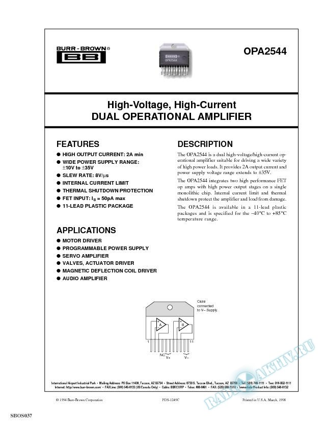 High-Voltage, High-Current Dual Operational Amplifier