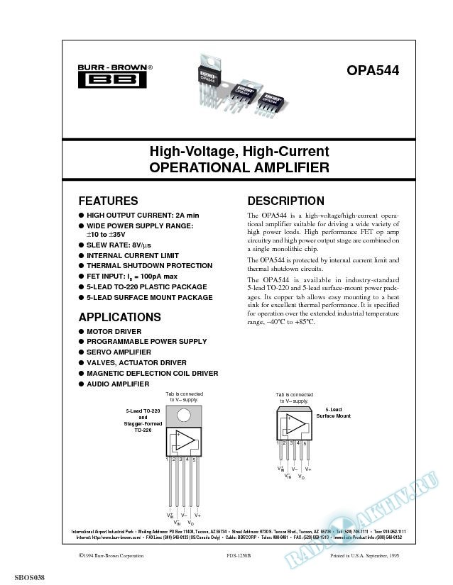 High-Voltage, High-Current Operational Amplifier