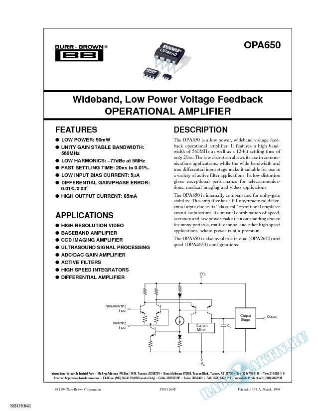 Wideband, Low Power Voltage Feedback Operational Amplifier