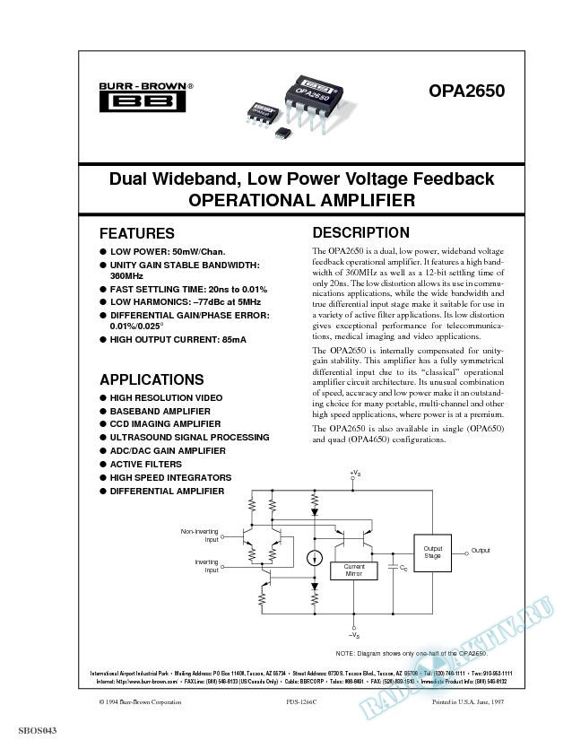 Dual Wideband, Low Power Voltage Feedback Operational Amplifier