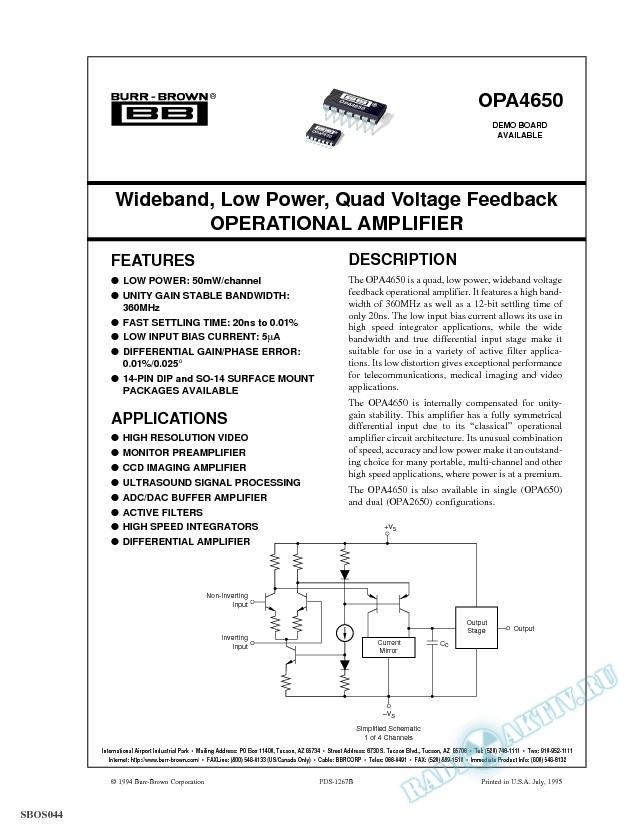 Wideband, Low Power, Quad Voltage Feedback Op Amp