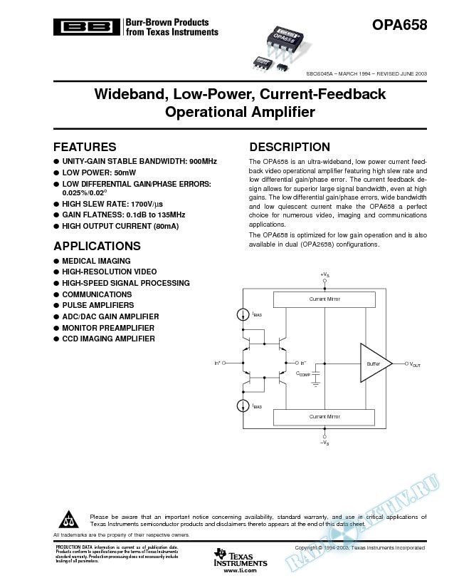 Wideband, Low-Power Current-Feedback Operational Amplifier (Rev. A)