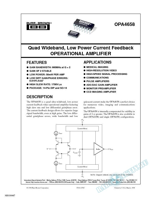 Quad Wideband, Low Power Current Feedback Op Amp