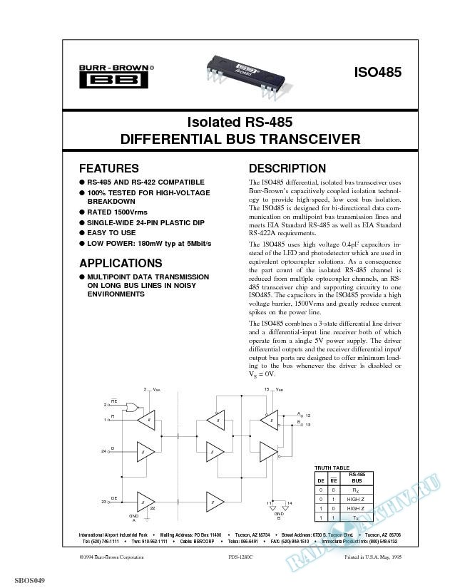 Isolated RS-485 Differential Bus Transceiver