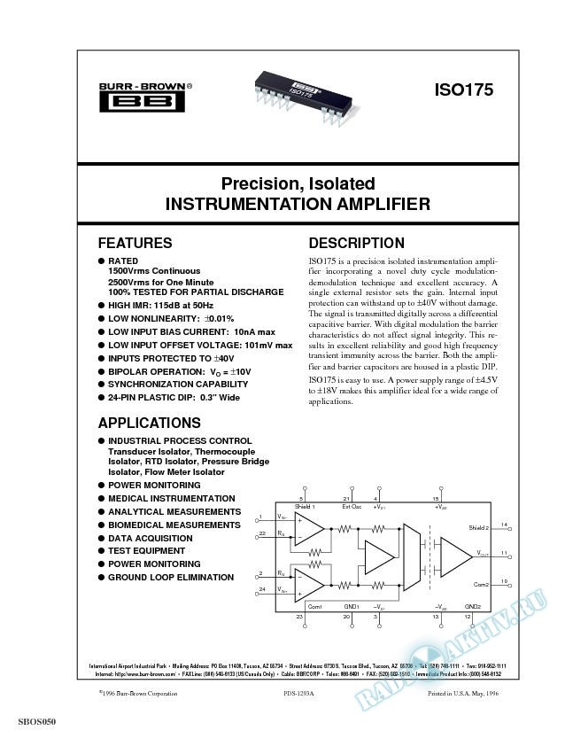 Precision, Isolated Instrumentation Amplifier