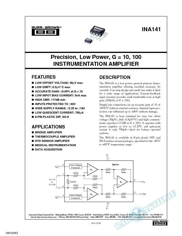 Precision, Low Power, G = 10, 100 Instrumentation Amplifier