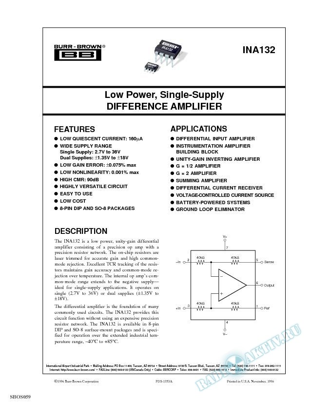 Low Power, Single-Supply Difference Amplifier
