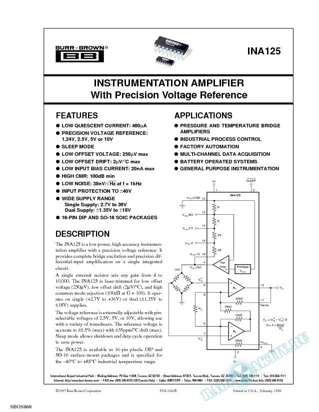 Instrumentation Amplifier with Precision Voltage Reference