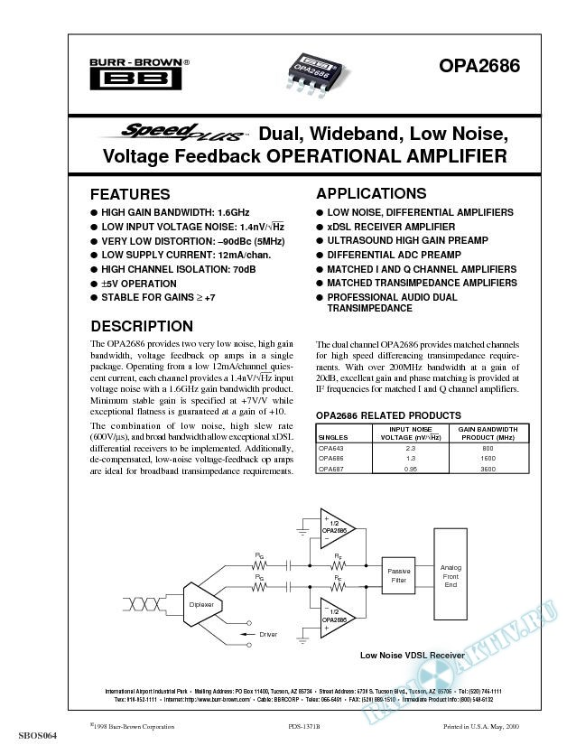 SpeedPlus Dual, Wideband, Low Noise, Voltage Feedback Operational Amplifier