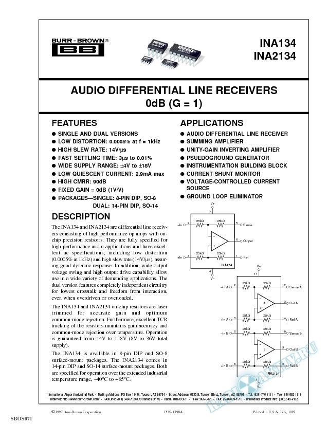 Audio Differential Line Receivers, 0dB (G=1)
