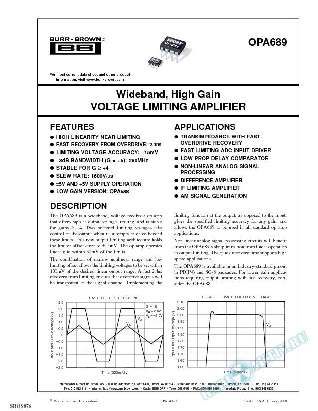 Wideband, High Gain Voltage Limiting Amplifier