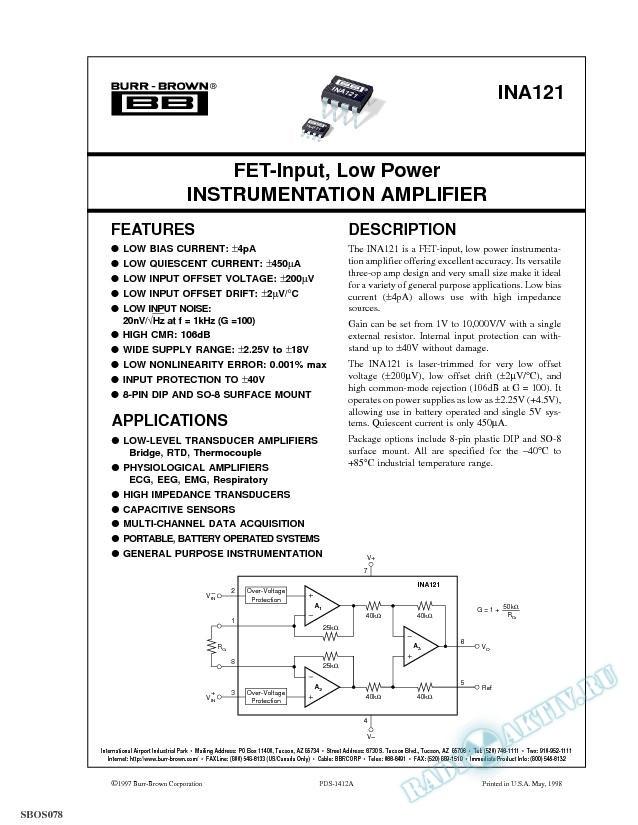 FET-Input, Low Power Instrumentation Amplifier