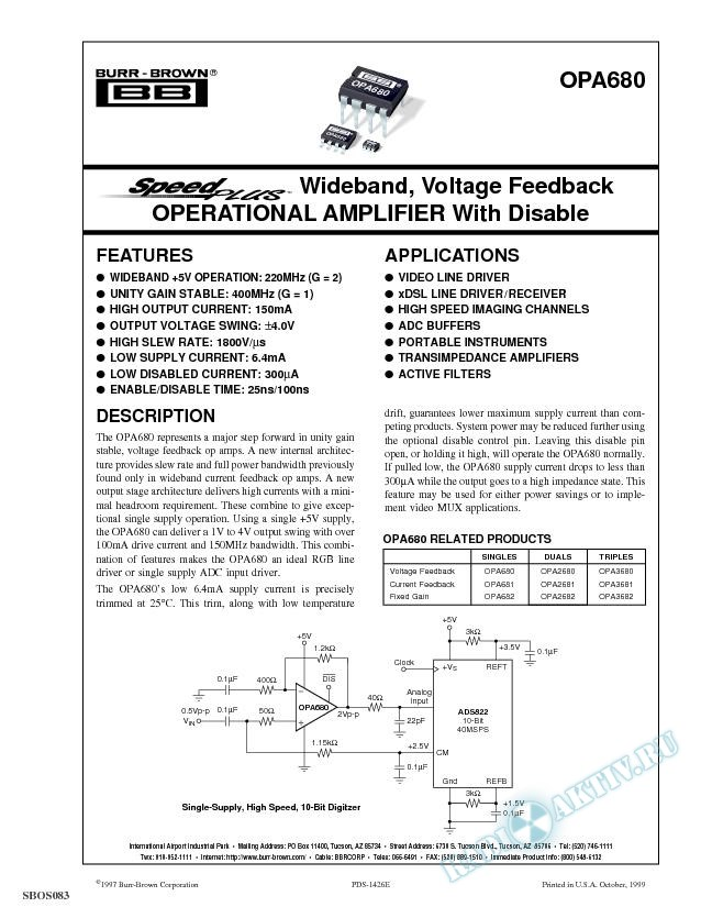 SpeedPlus Wideband, Voltage Feedback Operational Amplifier with Disable