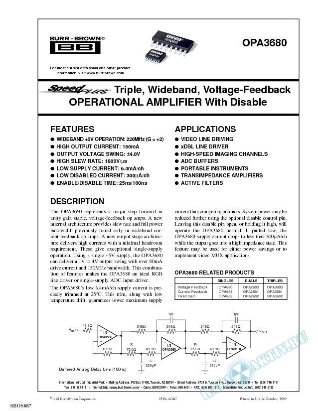 SpeedPlus Triple Wideband, Voltage Feedback Operational Amplifier With Disable